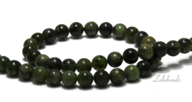 10 strengen Demdritic green Jade kralen rond ca. 8mm (58)
