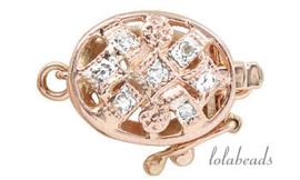 Rosé gouden bakslotje met diamant 14krt. goud ca. 11x9mm