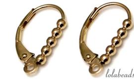 1 paar oorbelhaakjes 14 krt. goud ca. 16.5x9mm
