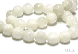 10 strengen Jade kralen wit rond ca. 6mm A kwaliteit