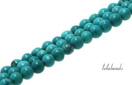 10 strengen Howliet kralen turquoise rond ca. 3mm
