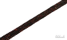 10 strengen rode Tijgeroog kralen rond ca. 2mm
