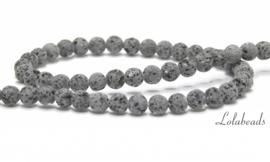 10 strengen Lavasteen kralen antraciet grijs rond ca. 6mm