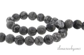 10 strengen Jaspis kralen grijs mat rond ca. 8mm