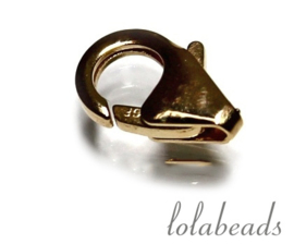 12 stuks Gold filled lobsterslot ca. 9mm