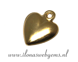 12 Gold filled bedeltjes hart ca. 12x10x1,5mm