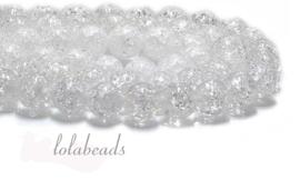 10 strengen Bergkristal kralen crackle rond ca. 8mm