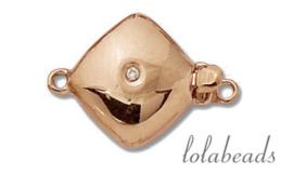 Rosé gouden bakslotje met diamant 14krt. goud ca. 17x12.5mm