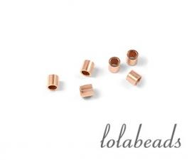 100 stuks rosé Gold filled knijpkraaltjes buis ca. 2x2mm