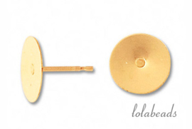 50 paar Gold filled platte oorknopjes ca. 6mm