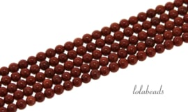 10 strengen Rode Jaspis kralen rond mini ca. 2mm