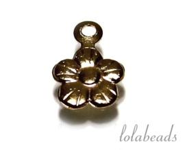 12 stuks Gold filled bedeltje bloempje ca. 9x6mm