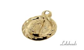 """12 stuks Gold filled bedeltje """"Virgin Guadalupe"""" ca. 8.5mm"""