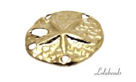 12 stuks Gold filled bedeltje Strand Zeester ca. 11.5mm