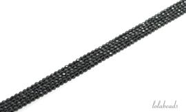 10 strengen Hematiet kralen facet rond ca. 2mm