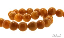 10 strengen Jade kralen geel rond ca. 12mm