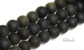10 strengen Golden Obsidiaan kralen mat rond ca. 8.5mm (1.29)