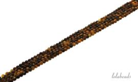 10 strengen Tijgeroog kralen rond ca. 3mm