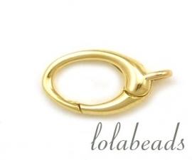 1 stuk 14 krt. gouden lobster slotje ovaal ca. 12x7mm