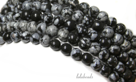 10 strengen Snowflake Obsidiaan kralen rond ca. 12mm A kwaliteit(23)