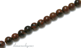 10 strengen Bruine Obsidiaan kralen rond ca. 4mm (17)