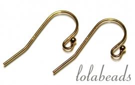 1 paar oorbelhaakjes 14 krt. goud ca. 18x10mm