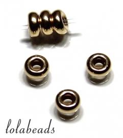 10 stuks 14 karaat gouden rondel ca. 3mm