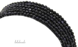 10 strengen Blauwe Goudsteen kralen facet rond ca. 2mm