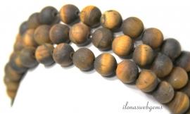10 strengen Tijgeroog kralen mat rond ca. 8mm