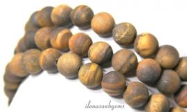 10 strengen Tijgeroog kralen mat rond ca. 12mm