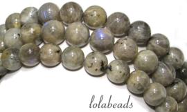 10 strengen Labradoriet kralen rond ca. 10mm (40)