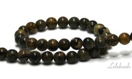 10 strengen oranje Dendritic Jade kralen rond ca. 6mm (63)