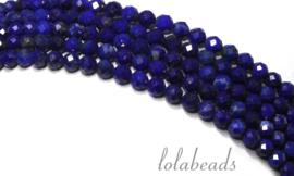 10 strengen Lapis Lazuli kralen facet rond mini ca. 3.5mm AAA kwaliteit