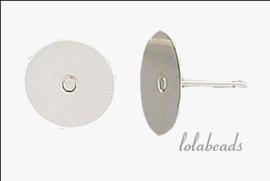 50 paar Zilveren platte oorknopjes ca. 6mm