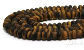 10 strengen Tijgeroog kralen mat rondel ca. 8x5mm