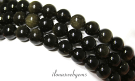 10 strengen Golden Obsidiaan kralen rond ca. 8mm (1.29)