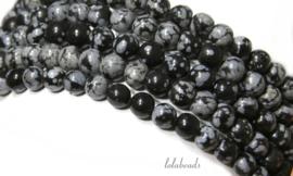 10 strengen Snowflake Obsidiaan kralen rond ca. 10mm (45)