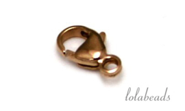 12 stuks rosé gold filled lobsterslotje ca. 9x5mm