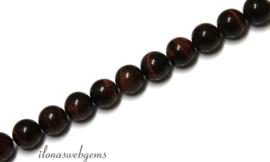 10 strengen Rode Tijgeroog kralen rond ca. 4mm (54)