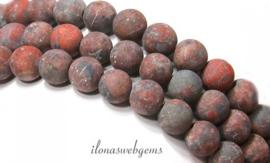 10 strengen Jasips kralen mat rond ca. 8mm