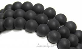 10 strengen Obsidiaan kralen rond mat ca. 12mm