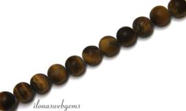 10 strengen Tijgeroog mat kralen rond ca. 8mm (62)