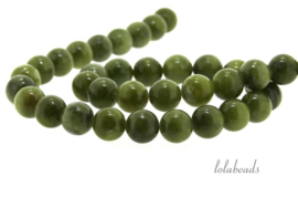 10 strengen Jade kralen rond ca. 10mm