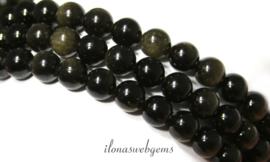 10 strengen Golden Obsidiaan kralen rond ca. 12mm (1.29)