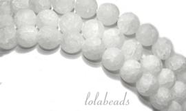 10 strengen Bergkristal kralen iced crackle rond ca. 8mm