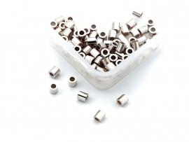 5x20 stuks Griffin sterling zilveren knijpkraaltjes buis 2x2,2mm medium