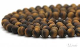10 strengen Tijgeroog kralen mat rond ca. 10mm A kwaliteit