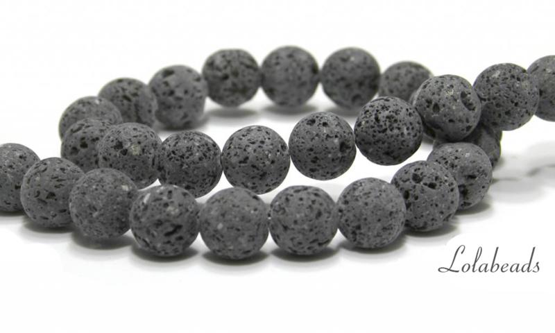 10 strengen Lavasteen kralen antraciet grijs rond ca. 12mm