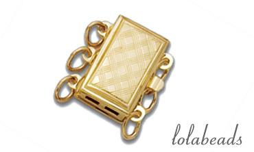 1 stuk 14 karaat gouden slot 3-rij ca. 10.45x7.45mm