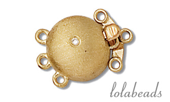 1 stuk 14 karaat gouden bakslot 3-rij mat met diamant ca. 10.65mm